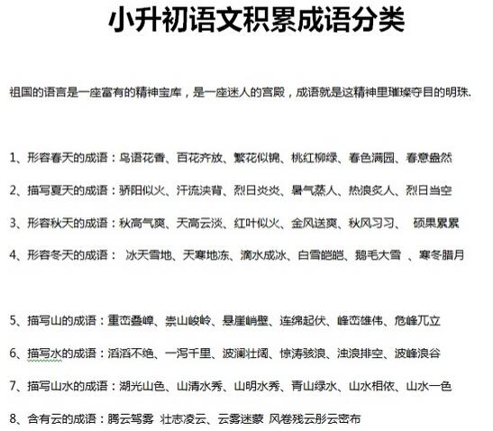 2015深圳小升初备考:语文成语积累